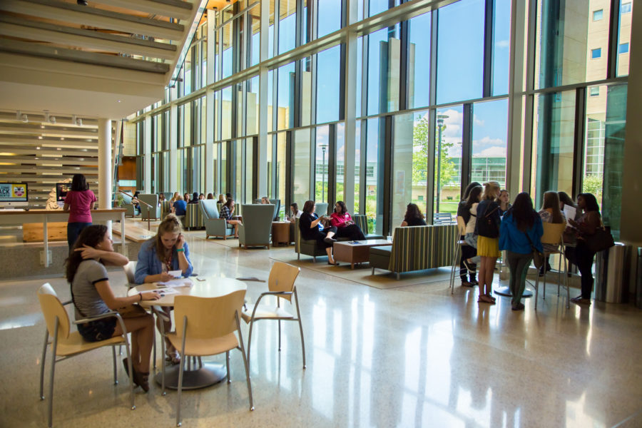 photo of students in the Cooper Hall atrium