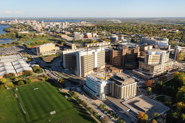 Aerial photo of the UW Medical Campus.