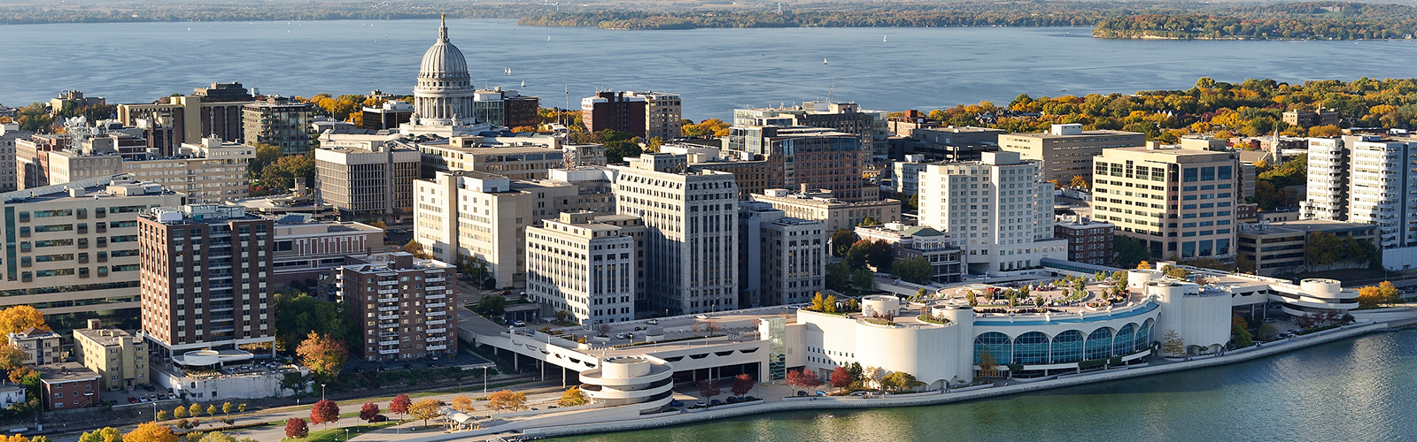 aerial photo of downtown Madison, WI.