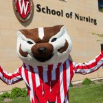 Bucky Badger visits Signe Skott Cooper Hall