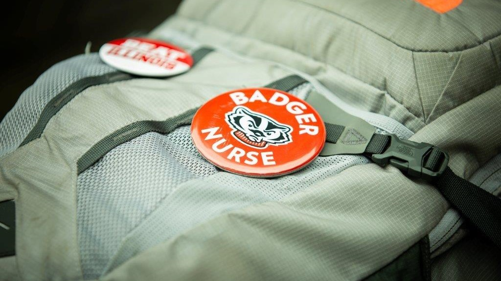 Backpack with Badger Nurse pin