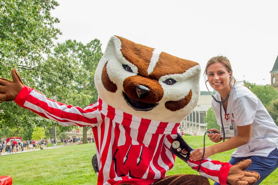 Nurse and Bucky Badger