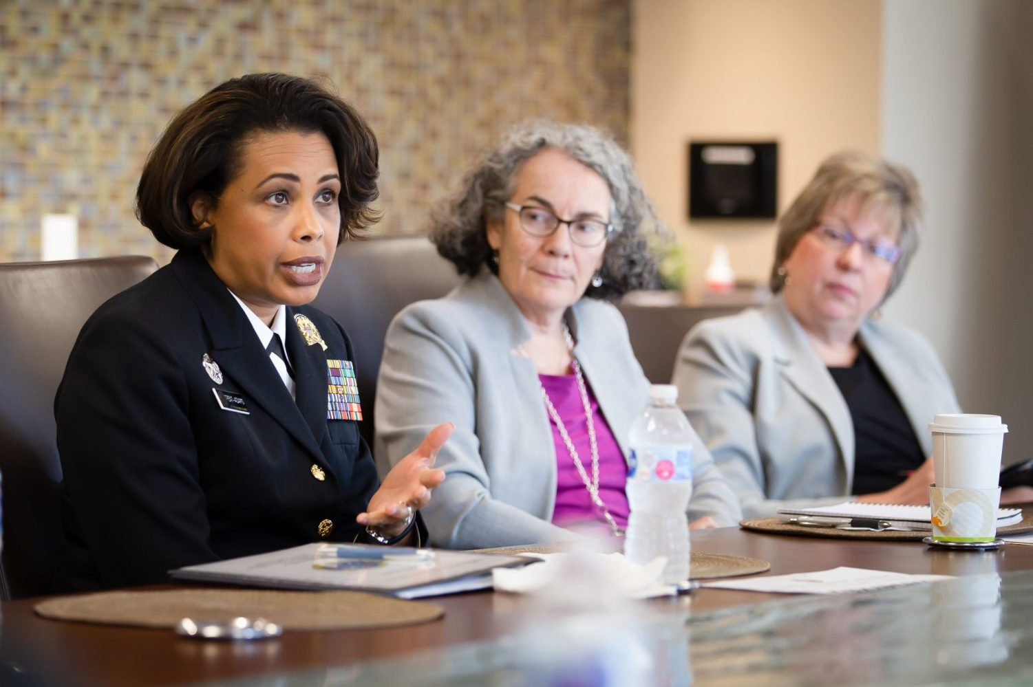 Rear Admiral Trent Adams presents her research at the School of Nursing