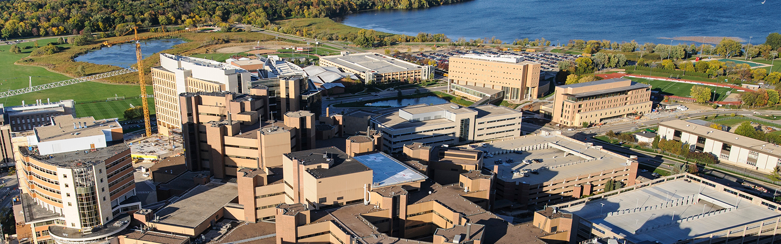 The medical area of the western side of the University of Wisconsin-Madison campus is pictured in an aerial view during autumn.