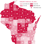 Map of Wisconsin showing percentage of population over 65
