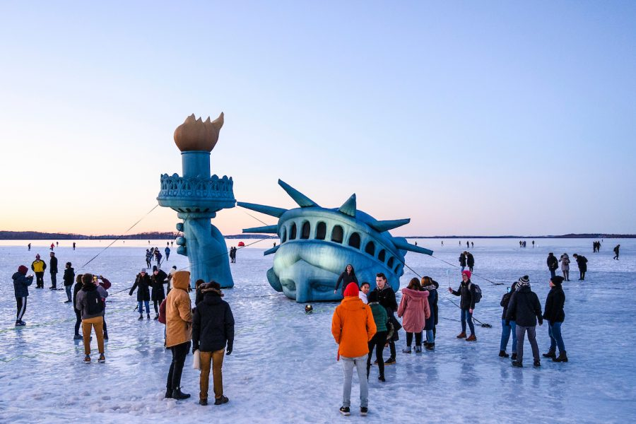 Lady Liberty on Lake Mendota, winter 2020 carnival