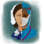 Illustration of Florence Nightingale and contemporary nurse in PPE