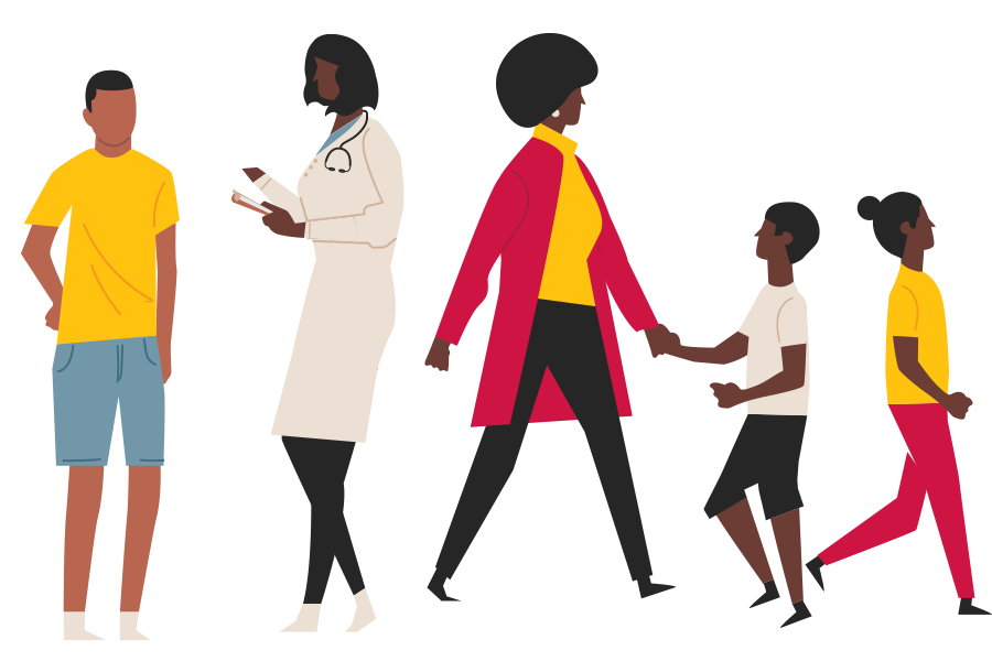 Black health care worker interacting with Black adolescent and family